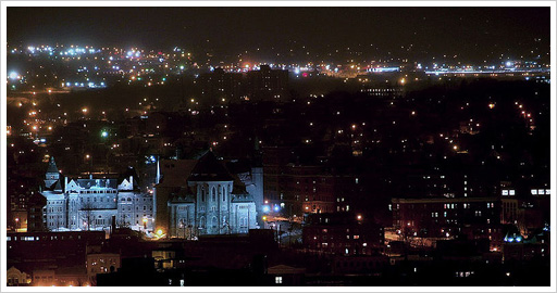 Comprehensive alcohol and drug addiction information for Sherbrooke, Quebec as seen at night.