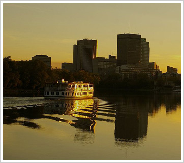 Drug addiction and substance abuse information resource for Winnipeg, Manitoba, seen here across the river at sunset.